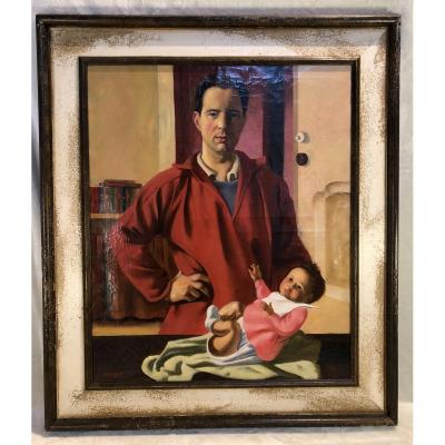 Painting - Jacques. Dormont(1914-2005) - The Father And The Child - Hst - 62x74cm - Signed