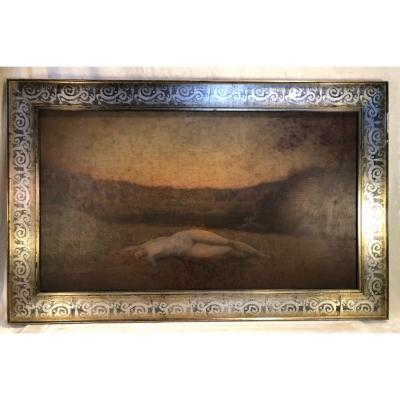 Peinture Symboliste - Henri .Binard - Hst - 56 X 100cm - Signé