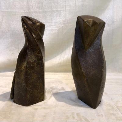 2 Sculptures Stylisées - Anne Canneel - Signé & Cachet Du Fondeur Harze Circa 1990