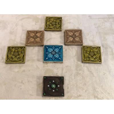Lot Of 7 Small Tiles (square Shape: 8x8cm) - Art Nouveau Style