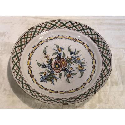 Assiette faience Française - 19e - 7x36cm - Décor Floral