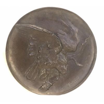 Plat En Bronze - Alfred Egide Crick - Sujet Animalier - Rare - 3 X34cm
