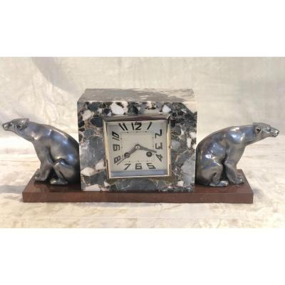 Pendule Art-déco Avec Des Ours Sur Les Côtés - 11x18x40cm - Marbre/bronze