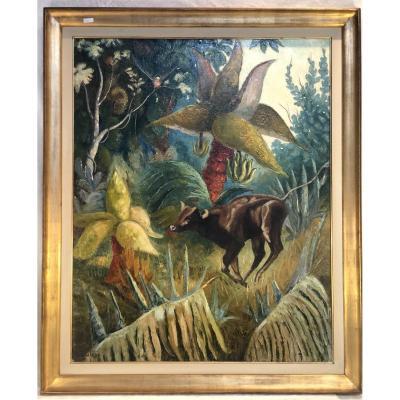 Peinture - Gerard Laenen - La Foret Tropicale - 1940 - 80 X 100 Cm peintre voyageur