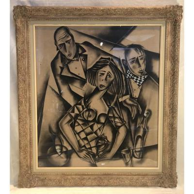 Charcoal On Cardboard - Ferdinand Pire - Unity - Cubist Portraits - Signed - 73 X 82cm