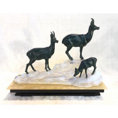 Bronze Animalier Art-deco - Lampe Dans l'Opaline - Non Signé - 14x44x36cm