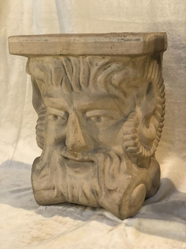 2 Stoneware Plinths - Attributed To Guerin - Stylized Bachus Head - 15x24x31 Cm-photo-2