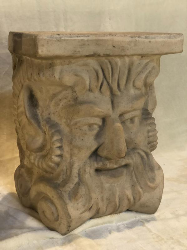 2 Stoneware Plinths - Attributed To Guerin - Stylized Bachus Head - 15x24x31 Cm-photo-3