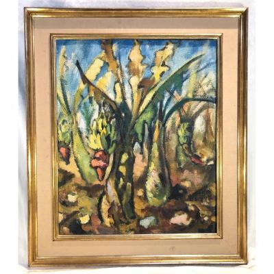 Peinture Israélienne - Signé Hoenich Paul Konrad .KEt Daté : 1951 - Les Bananiers - Hst - 60 X 73 Cm