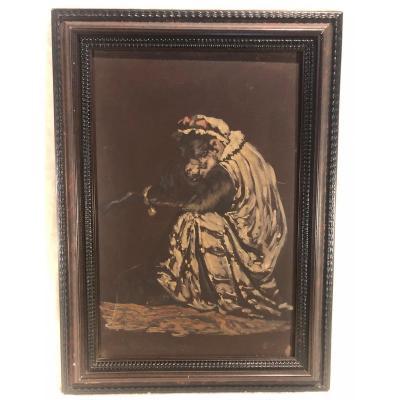 Oil Painting - Little Monkey - Artist: Dell'acqua Cesare Félix Georges (1821-1904)