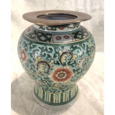 Vase Chine - Restauré - Monture En Argent - Période Khan-Ghi  - 17 X 21 Cm