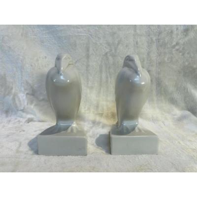 Faïence Craquellée Blanche - 2 Pélicans - Non Signé - Base : 8 X 10cm - H. 18cm