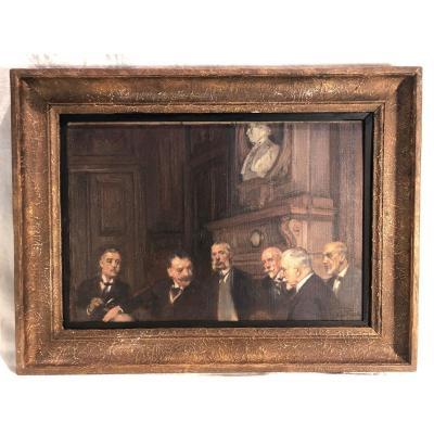 Esquisse Sur Toile Représentant Le Comité De Direction De La Banque Nationale De Belgique 1925