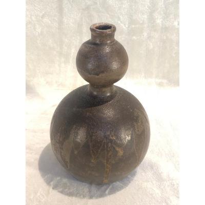 Vase En Grès Boch Keramis à Décor Flammé - Petit Défaut Au Col - H. 21cm - D. 14cm