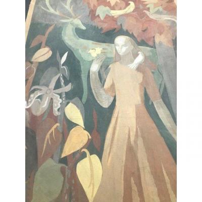 Aquarelle Lussie Mercier (1914-1995) - Art Deco - Signé - Dim. 100 X 200 Cm