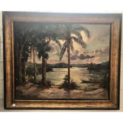 Tableau Paysage - André Hallet - Signé - Dim. 80 X 100cm
