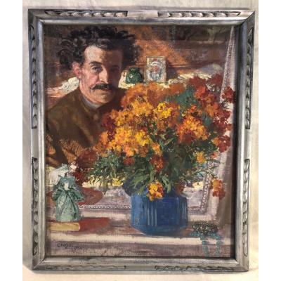 Huile Sur Toile - Autoportrait Dans La Glace - Signé : Cirou - Daté 1934 - Dim. 55 Xw 65cm