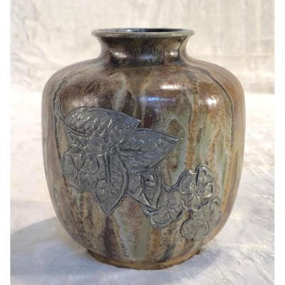 Vase Guérin  - Décor De Fleurs Stylisées - Petit éclat à La Base - Diamètre : 11 Cm - H. 12 Cm