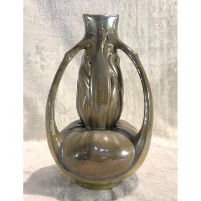 Vase Rare En Grès Art-Nouveau De Charles Catteau - 19 X 32cm - Circa 1904-1906