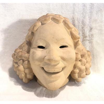 Tête En Faïence / Masque En Céramique - Cachet Biot - Made In France - 14x23x25cm