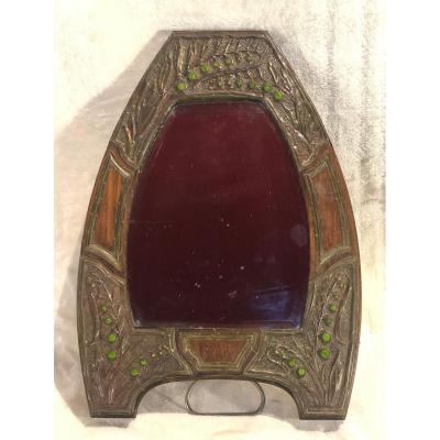 Miroir Art-nouveau En Bois, Cuivre, Perle En Verre - Dimension : 27 X 40 Cm