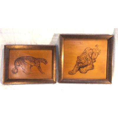 2 Panneaux En Bois Encadrés Art-déco - Sujet Animalier/africaniste - Gravé Dans Le Bois