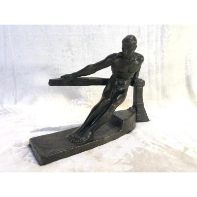 Sculpture En Bronze - Georges Gori - Le Barreur - H. 30cm - Base : 15 X 42cm
