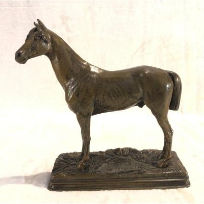 Sculpture De Dubucand - Horse / Kaolin: Thoroughbred Stallion Au Haras Au Pin - Dim. 24 X 24 Cm