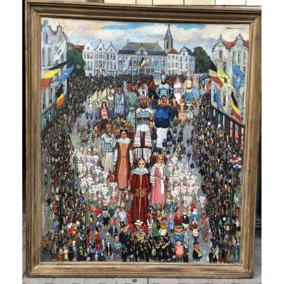 Marcel Canneel - Grand Tableau Folklorique - Dim. 131 X 157cm - Signé Et Daté : 1941