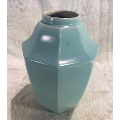 Plain Turquoise Vase - Boch Keramis - Geometric Shape - Size 28 X 18cm - Unreadable Boch Stamp