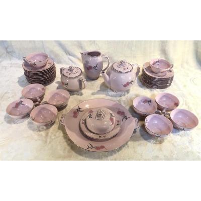 Art-deco Rose Service 10 People - Czechoslovakia - Epiag Porcelain (light)