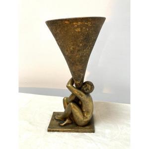 Lampe Sculpture Art Deco Georges Henri TRIBOUT (1884-1962)