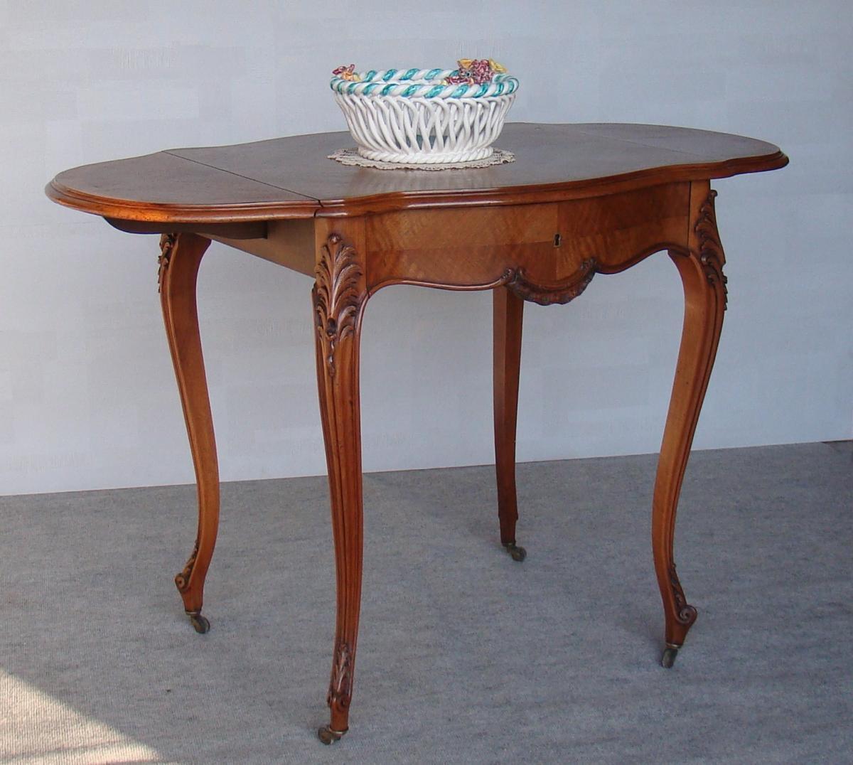 Table Portefeuille Napoléon III De Style Louis XV En Noyer