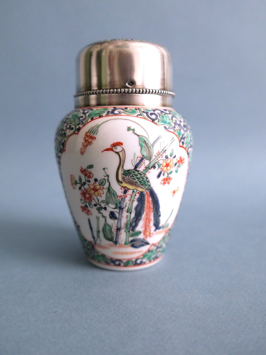Chantilly Style - Porcelain Covered Pot With Trendy Bird Decor Silver Frame 19th Century