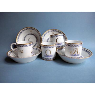 Niderviller  - quatre Tasses Litron Et Sous Tasses En Porcelaine Dure  XVIIIe Siècle