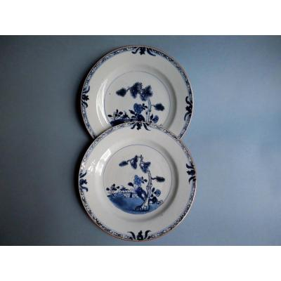 China - Two Porcelain Plates In East India Company 18th Century