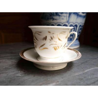 Porcelaine De Paris - 1 Large Breakfast Cup With Gold Foliage Frieze Decor - Nineteenth Century