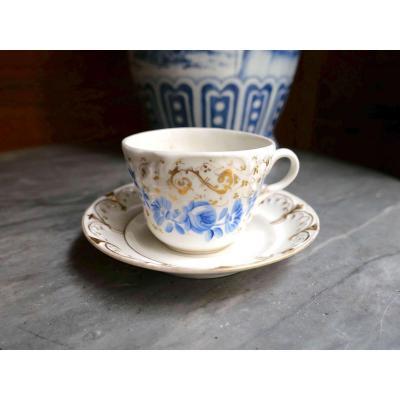 Porcelaine De Paris - 1 Grande Tasse à Déjeuner à Décor De Fleurs Bleu Et Or - XIXe Siècle