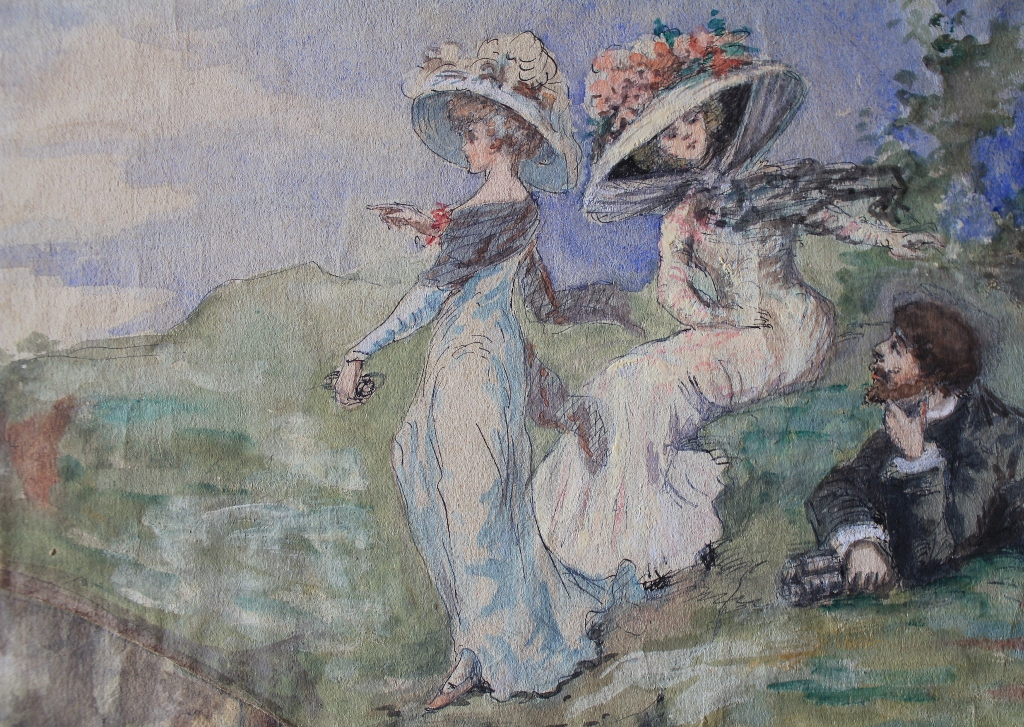 """Watercolor """"elegant By The Sea"""" Around 1900"""