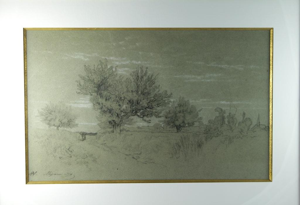 Dessin Au Crayon Noir Chemin Creux En Région De Fontainebleau Alexandre Véron (1826-1897)