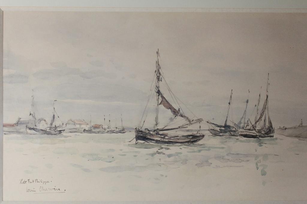 """Aquarelle """"le Petit Fort Philippe"""" Louis Chervin (1905-1969)"""