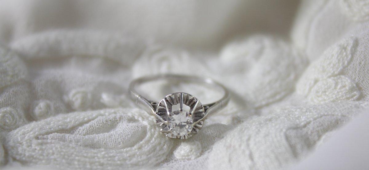 Bague Solitaire En Or Gris 18 Carats Et Diamant, Taille 51