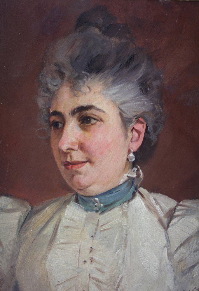 Painting 'portrait Of Woman With Pearl' Oil On Panel Late 19th Century Signed Vahle
