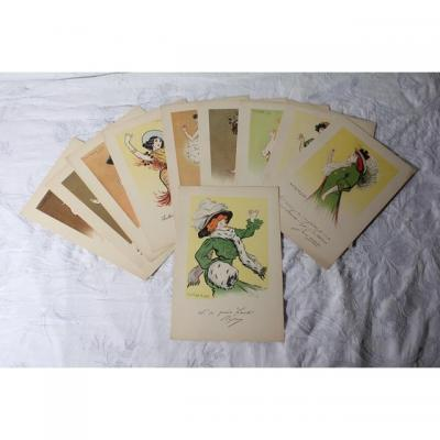 Series 10 Boards For Quina-laroche 10 French Actresses Caricatured By De Losques