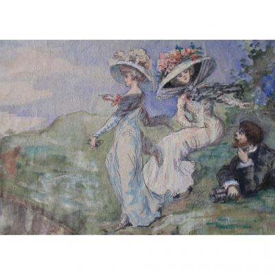 "Aquarelle ""les élégantes En Bord De Mer"" Vers 1900"