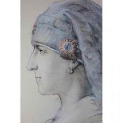 """Dessin Aquarellé """"hommage à Mon Infirmière"""" Daté 1919 Vouziers"""