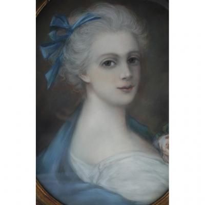 """""""woman With Blue Ribbon"""" Pastel Oval Early 19th Century"""