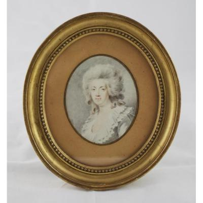 Watercolor Oval Portrait Of Woman In The Taste Of The 18th Century, Early 19th Century Era