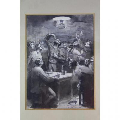 """Drawing Ink And Lavis """"scene Tavern Animated"""" Signed G. Jacquot"""