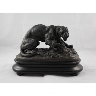 Sculpture Regulates Panther Attacked By A Serpent 19th Century